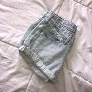 Light Wash Denim Short Shorts By h&m